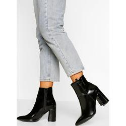 Bottines à talon Boohoo noires à talons carrés pour pieds larges pour femme