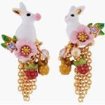Boucles d'oreilles asymétriques tiges lapin et chaînettes Blanc Les Néréides