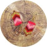 Boucles D'oreilles Camaieu De Rose Rouge Ambre Et Doré Tissées En Micromacramé Perles Rocailles Miyuki Delica