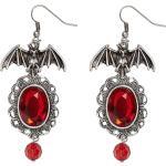 Boucles Doreilles Chauve Souris Gothique Rouge Femme Halloween Taille Unique