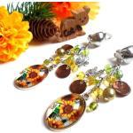 Boucles D'oreilles Clips Pendantes Avec Un Cabochon Ovale Fleurs De Tournesol Et Des Perles Jaune, Vert Marron