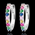 Boucles d'oreilles créoles Fraîcheur - Rainbow - or blanc 18 carats