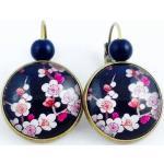 Boucles D'oreilles Dormeuses Bronze Cabochon, Fleurs Cerisier, Sakura, Rose, Bleu, Japonais, Accessoire Cadeau Femme, Bohème Chic, Fleuri