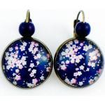 Boucles D'oreilles Dormeuses Cabochon Bleues, Fleurs Roses, Sakura, Cerisier, Fleuri, Floral, Japonais, , Cadeau Femme