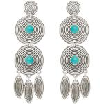 Boucles d'oreilles double ronds et pierres (turquoise) - Shabada