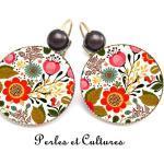 Boucles D'oreilles Fleurs Multicolores, Bijoux Fleurs, Rouges, Oranges, Cabochon, Cabochon Verre