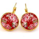Boucles D'oreilles Japonaises, Fleur, Sakura, Rouge, Cabochon, Or, Argent, Dormeuses, Créoles, Puces