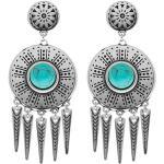 Boucles d'oreilles rondes et pampilles (turquoise/argenté) - Shabada