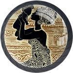 Bouton de Meuble Enfant Femme africaine Poignées de Meuble Boutons de Porte pour Chambre d'enfant Lot de 4 3.5x2.8cm