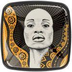 Bouton de Meuble Enfant Femme africaine Poignées de Meuble cristal Boutons de Porte pour Chambre d'enfant Lot de 4 3x2.1x2 cm