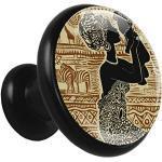 Bouton de Meuble Enfant Femme africaine Poignées de Meuble métal Boutons de Porte pour Chambre d'enfant Lot de 4 3.2x3x1.6cm