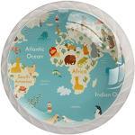 Bouton de Porte Enfant Carte du monde Boutons de Meuble Enfant Mignon Tiroir du Cabinet pour Tiroir Placard Armoire Pour la maternelle Lot de 4 3.5×2.8CM