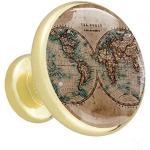 Bouton de Porte Enfant Carte du monde vintage Boutons de Meuble Enfant Mignon Tiroir du Cabinet pour Tiroir Placard Armoire Pour la maternelle Lot de 4 3.2×3.0cm