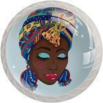 Bouton de Tiroir Femme africaine, à, turban Boutons de Meuble Enfant,Lot de 4 Boutons de Porte Tiroir et Armoire 3.5x2.8cm