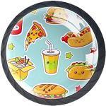 Bouton de Tiroir French Fries Burger Cola Boutons de Meuble Enfant,Lot de 4 Boutons de Porte Tiroir et Armoire 3.5x2.8cm