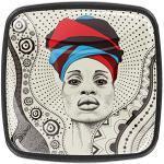 Boutons De Meubles Femme africaine, à, foulard Poignées Pour Placards,Tiroirs,Commode,Porte,Cuisine,Salle De Bains,Chambre D'Enfant 4 Pièces 3x2.1x2 cm
