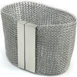 Bracelet De Manchette Large Tricoté Au Doigt En Fil D'acier Inoxydable Avec Fermet Magnétique Acier