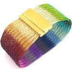 Bracelet De Manchette Regenbogen Double Tricoté, Avec Fermage Magnétique Couleur Or