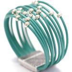 Bracelet Manchette En Cuir Et Perle Argentée Style Rétro