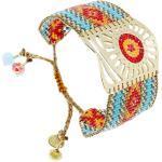 Bracelet manchette Sunflower (rouge et turquoise) -