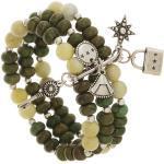 Bracelet semainier pierres vertes (argenté) - Shabada