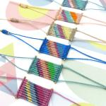 Bracelets Style Boho Chic Tissés En Micro Macramé Et Perles De Rocailles Miyuki Delica Motifs Rayures Multicolores