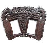 Cadre photos chinois en bois sculpté dragons Vietnam XIX