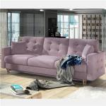 Canapé 3 places convertible en tissu rose ASTRID