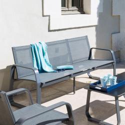 Canapé de jardin Gili Anthracite chiné Graphite 3 places - Aluminium et acier traité époxy, Texaline