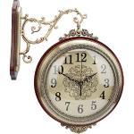 Caredy Horloge Murale, Pendule à Double Face rétro de Style Antique Horloge Ronde silencieuse Horloge de Rome pour Chambre, Porche, etc.