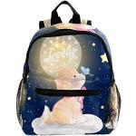 Cartable Papillon Chat étoile de Lune Sac à Dos pour Tout-Petits avec Poches Décor Sac à Dos décontracté Sac à Dos personnalisé Durable pour Adolescents Filles garçons 25.4x10x30 CM