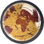 Carte du monde vintage 4Pcs Boutons de Meuble Enfant pour Porte/Tiroir/Cabinet/Placard/Salle de Bain/Penderie/Cuisine/Armoires 3.5x2.8cm