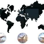 """Cartes Du Grand Mur Horloge Monde, Coloré, Moderne, Cadeau, Fuseaux Horaires, Londyn, New York, Tokyo 27, 56 """"x 20, 08"""""""