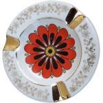 Cendrier en porcelaine de Limoges motif fleur orange diam 10,5 cm
