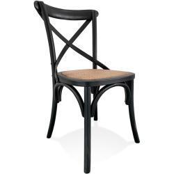 Chaise de cuisine rétro 'CHABLY' en bois noir - commande par 2 pièces / prix pour 1 pièce