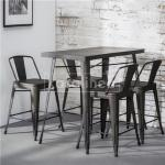 Chaise haute industrielle grise en acier WINDSOR (lot de 4)