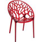 Chaise moderne 'GEO' rouge transparente en matière plastique
