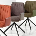 Chaise pivotante moderne taupe KOOK (lot de 2)