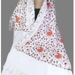 Châle Laine Femme Ecru Cuivre Brodé, Pashmina Broderies, Étole En Laine, Wool Shawl, Embroidered Shawl Ceo24