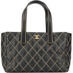 Chanel Pre-Owned sac cabas à détails de surpiqûres - Noir