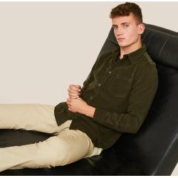 Chemises Monoprix vert foncé en velours pour homme