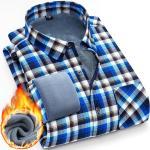 Chemise Hiver Homme À Carreaux Doublée Polaire Manches Longues Chemise Chaude Epaisse Avec Poche