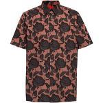 Vêtements HUGO BOSS HUGO noirs à motif roses à manches courtes col kent pour homme