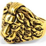Chevalière acier doré lion