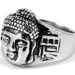 Chevalière masculine en acier bouddha