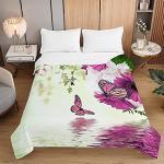 Jetés de lit violets à motif papillons