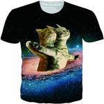 chicolife Unisexe T-Shirt Chat 3D et Galaxy Imprimer des vêtements Amples Respirants pour garçons Filles Femmes Hommes Travailler/Courir,XXL,Cat Lover
