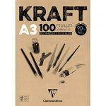Clairefontaine 96546C Bloc Encollé Papier Kraft - 100 Feuilles Papier Kraft Vergé Brun A3 29,7x42 cm 90g - Papier Double Face pour le Croquis et le Dessin