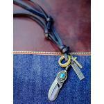 Collier pendentif unisexe Vintage alliage plume croix cercle réglable hommes femmes collier en peau de vache
