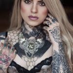 Collier Plastron Dentelle Argenté Rockabilly Spikes Tattoo Bird